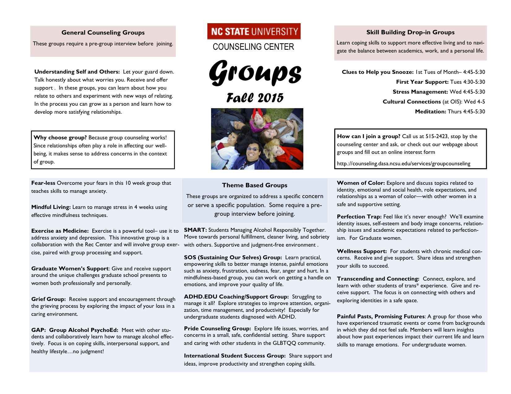 Fall 2015 Groups Schedule