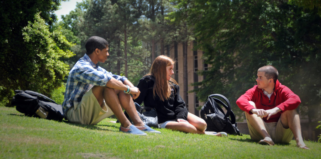 Students chat on the Brickyard.